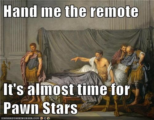 couch,pawn stars,robes,roman,TV