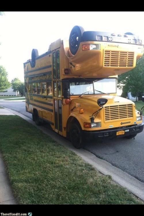 bus,double-decker bus,school bus,yellow bus