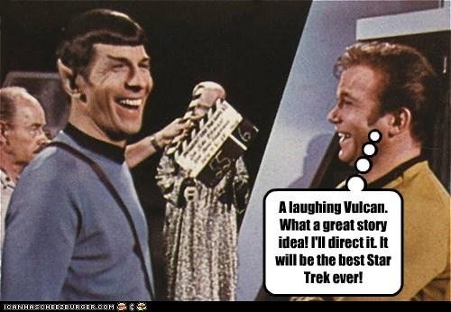 Captain Kirk,direct,idea,lauging,Leonard Nimoy,Movie,Shatnerday,Spock,Star Trek,the final frontier,Vulcan,William Shatner