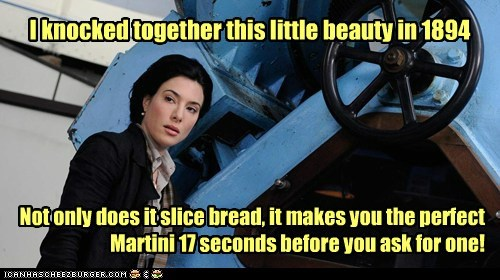bread,h-g-wells,h.g.wells,invention,jaime murray,martini,warehouse 13