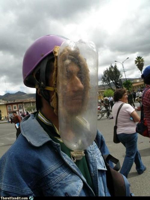 bottle,gas mask,peru,water bottle