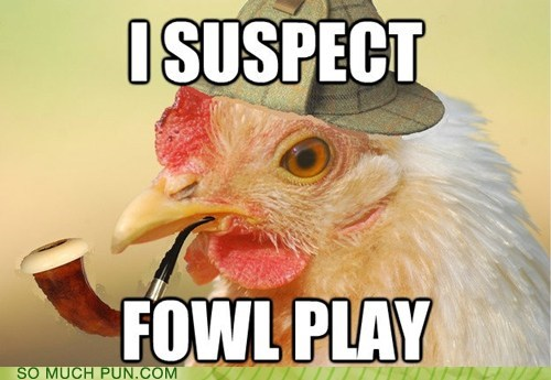 chicken,double meaning,foul,fowl,homophone,literalism,play,shoop