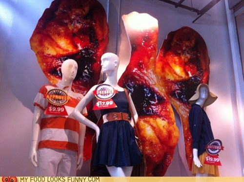 chicken wings,clothing,display,window