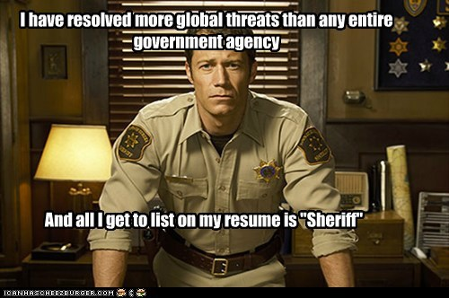 Colin Ferguson,eureka,government,resolved,resume,sheriff jack carter,thanks a lot,threat