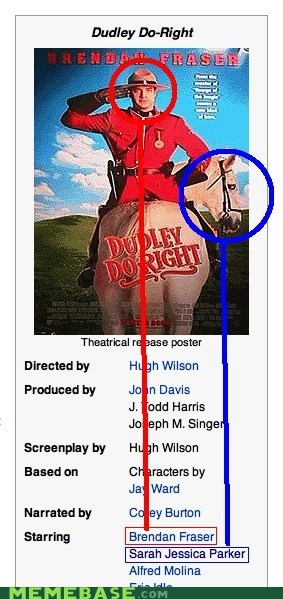 dudley do-right,horse,Memes,Movie,sarah jessica parker