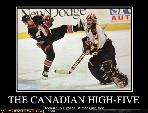 Canada,high five,hilarious,hockey