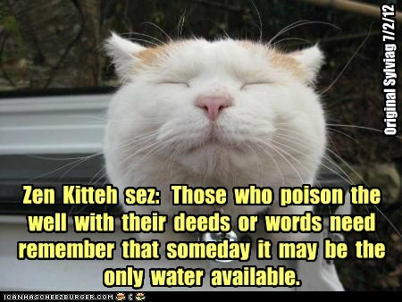 Zen  Kitteh  sez:   Those  who  poison  the  well  with  their  deeds  or  words  need  remember  that  someday  it  may  be  the  only  water  available.
