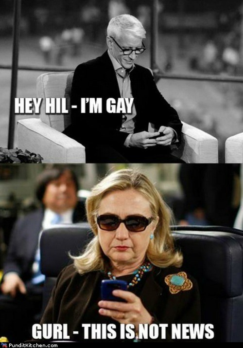 Anderson Cooper,gay,Hillary Clinton,political pictures,texts from hillary