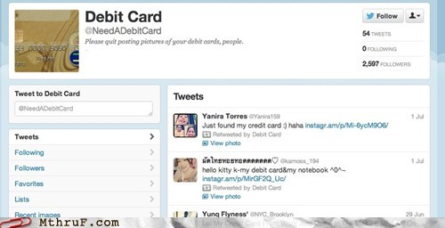 New Single-Serving Twitter Account Attempts to Publicly Shame People Who Post Their Debit Cards Online