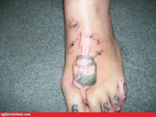 flies,foot tattoos,jar,stink,toe jam