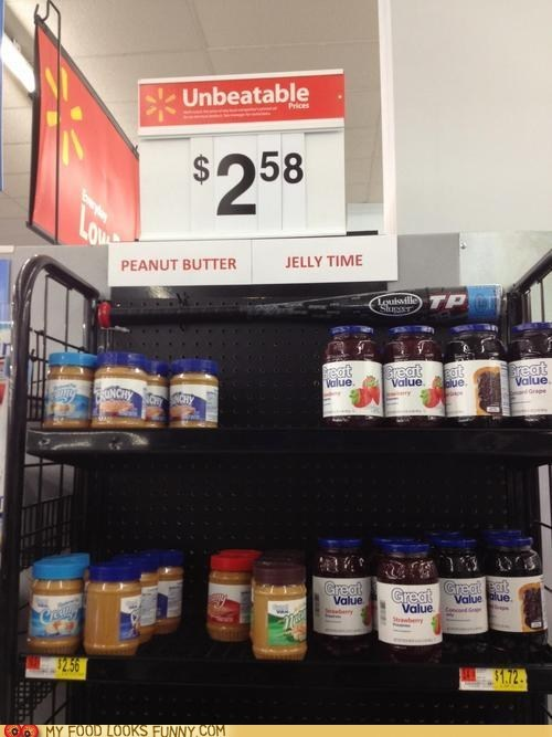 peanut butter jelly time,shelves,sign,wal mart