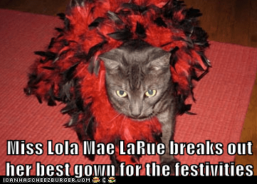 Miss Lola Mae LaRue breaks out her best gown for the festivities
