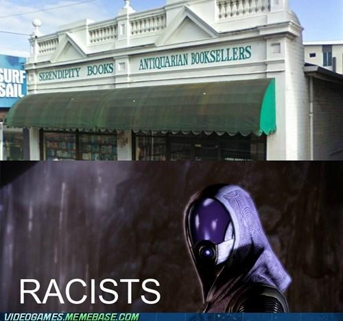 bookstore,geth,IRL,quarians,racist
