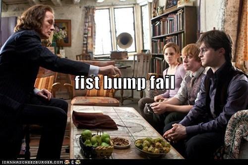 Awkward,Bill Nighy,Daniel Radcliffe,emma watson,FAIL,fist bump,Harry Potter,hermione granger,minister of magic,old,Ron Weasley,rupert grint