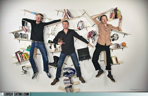 bookcase,hang,men,shelves,wall