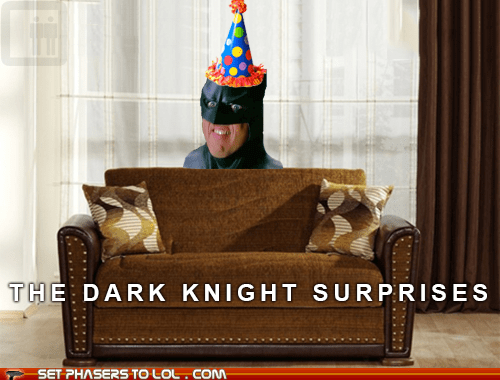 batman,birthday party,party hat,silly,surprise,the dark knight,the dark knight rises
