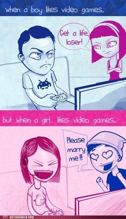 double standards,gamer girls,gamer guys,gamers,losers,men vs women