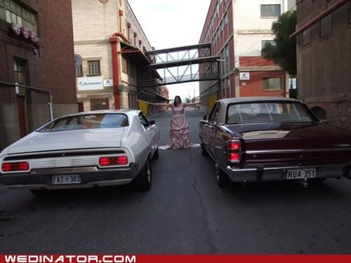 bride,cars,drag race,funny wedding photos