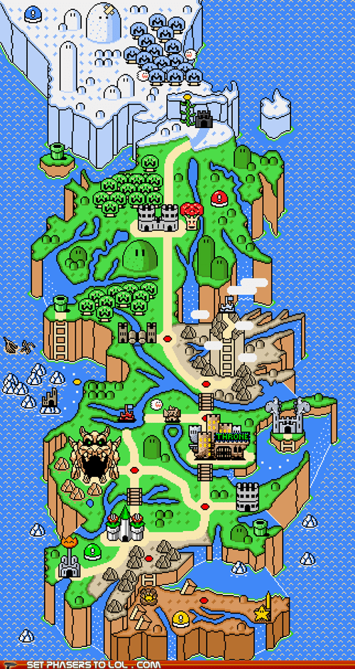 a song of ice and fire,Game of Thrones,map,snes,super mario world,video games,Westeros