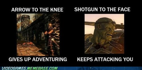 arrow to the knee,comparison,fallout,meme,Skyrim,the internets