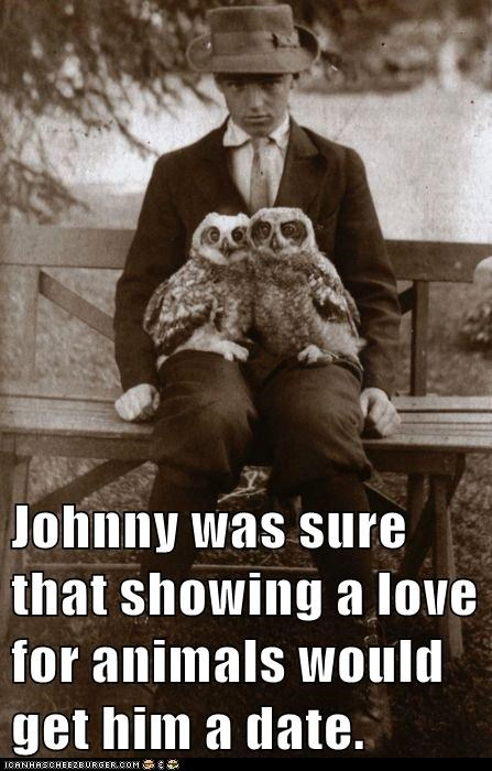 Johnny was sure that showing a love for animals would get him a date.