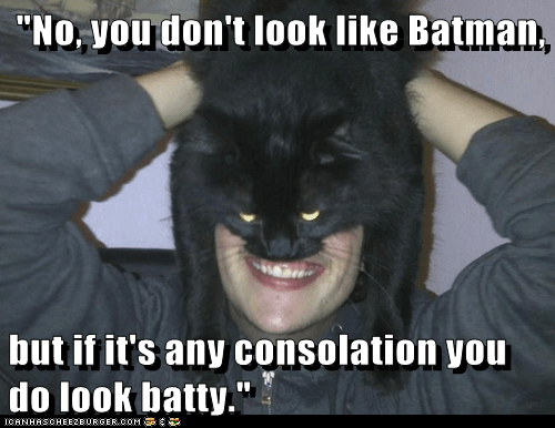 """No, you don't look like Batman,   but if it's any consolation you do look batty."""