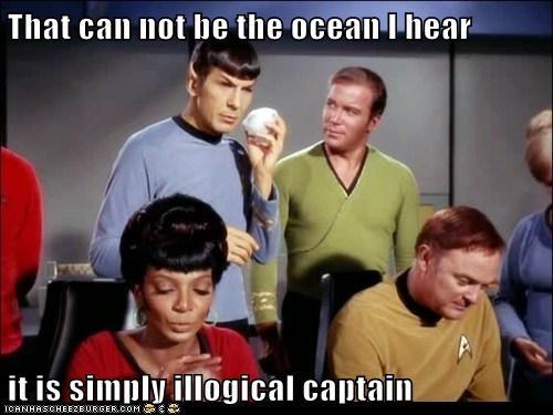 Captain Kirk,illogical,Leonard Nimoy,Nichelle Nichols,ocean,Shatnerday,shells,Spock,Star Trek,uhura,William Shatner
