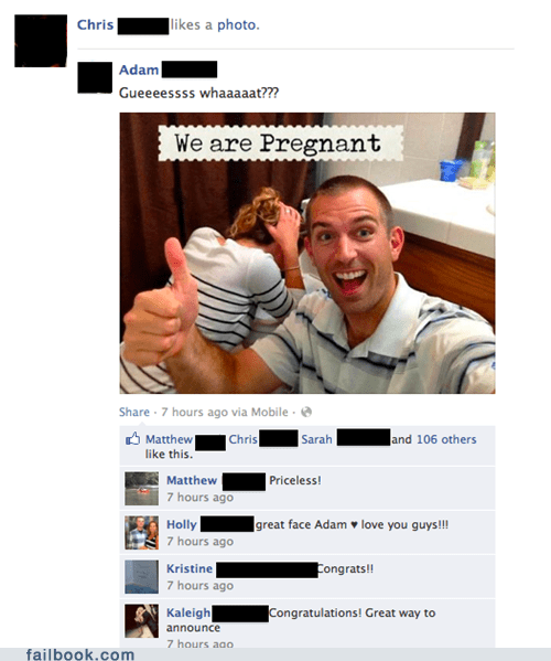 "Failbook: ""We"" Are Pregnant!"