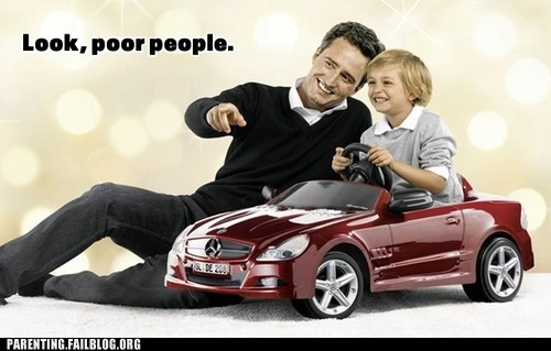 car,fatherson,poor people,rich people