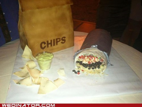 cake,chips,burrito,grooms cake,mexican food