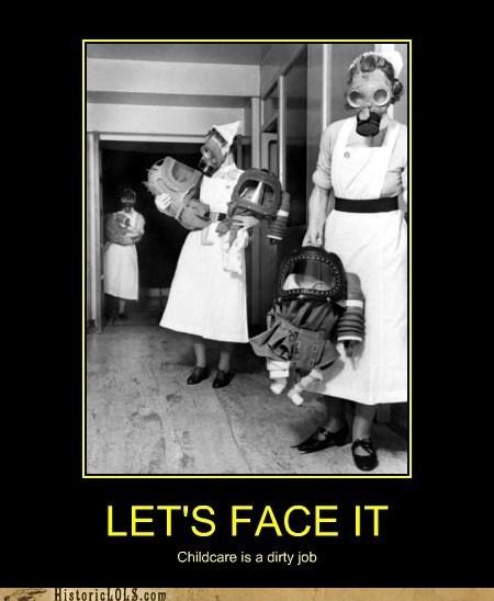 Babies,children,gas masks,nurses