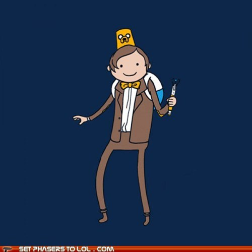 adventure time,doctor who,FEZ,finn and jake,Matt Smith,sonic screwdriver,the doctor