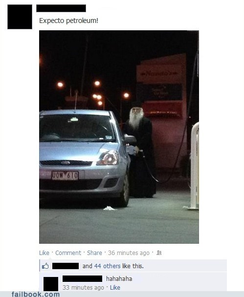 dumbledore,expecto patronum,failbook,g rated,gas station,Harry Potter