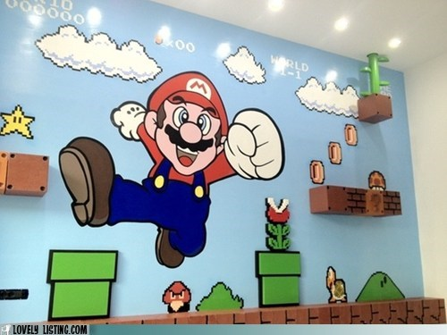 best of the week,mario,mural,shelves,wall