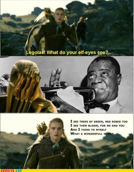 best of week,From the Movies,Lord of The Ring,lotr,louis armstrong,what do your elf eyes see