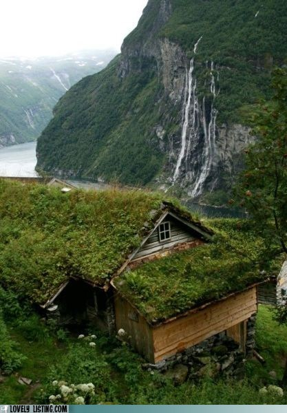 grass,green,hill,moss,roof,waterfall