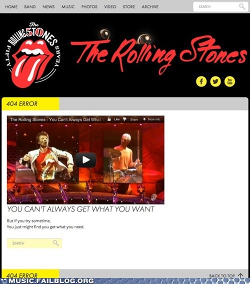 The Rolling Stones' Highly Relevant 404 Page
