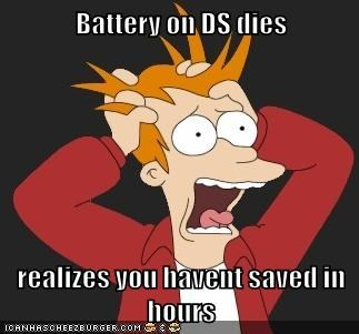battery,ds,fry,futurama,noooooo,panic,Pokémon,saved