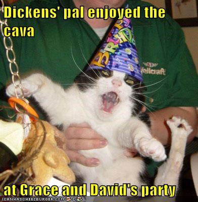 Dickens' pal enjoyed the cava   at Grace and David's party