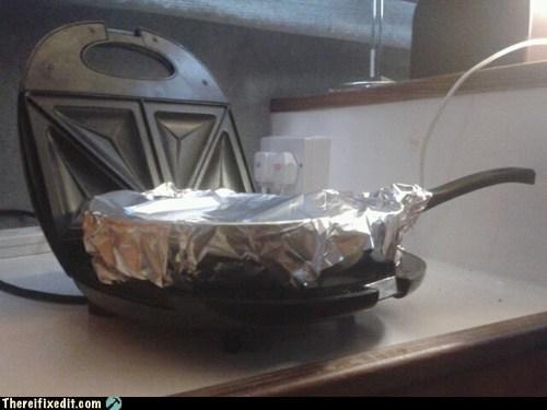 frying pan,microwave,stove,tin foil