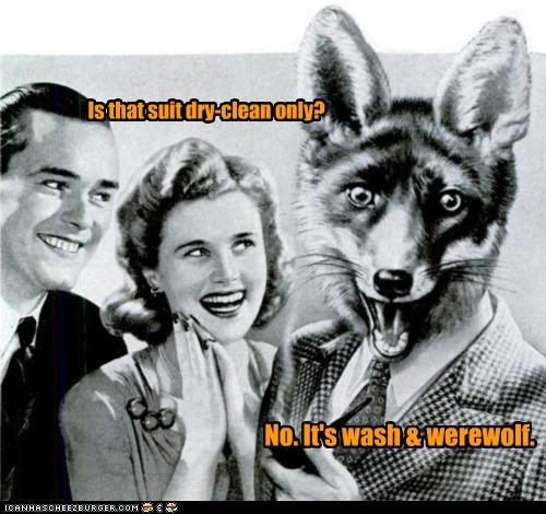dry clean,pun,wash and wear,werewolf