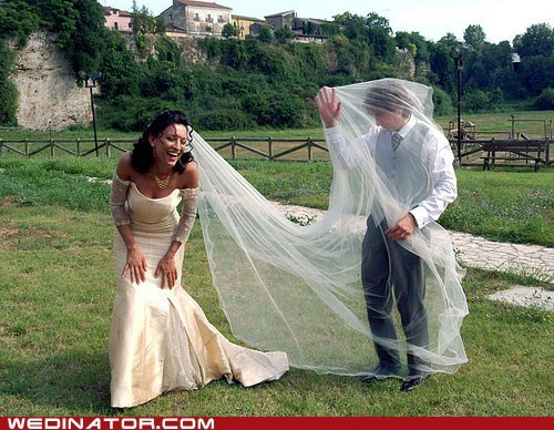 bride,funny wedding photos,groom,net,veil