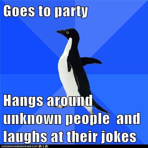 Goes to party  Hangs around unknown people  and laughs at their jokes