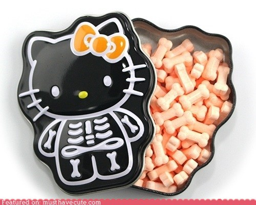 bones,candy,hello kitty,skeleton,tin