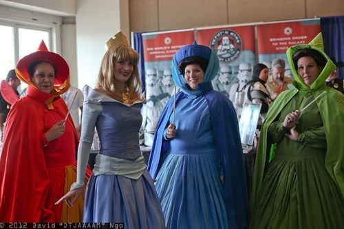 Flora, Princess Aurora, Merryweather, and Fauna