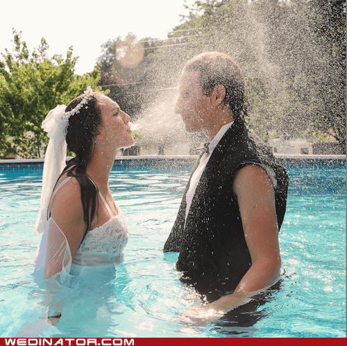 bride,funny wedding photos,groom,pool,splash