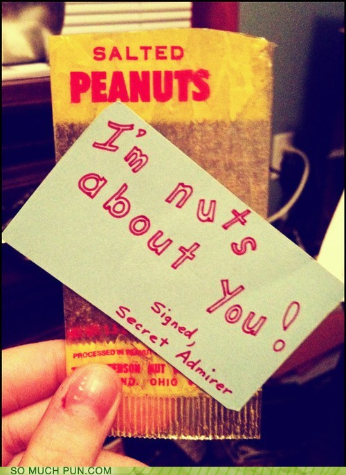 compliment,double meaning,literalism,note,nuts,peanuts,sentiment