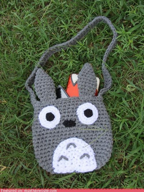 bag,Crocheted,grey,tote,totoro