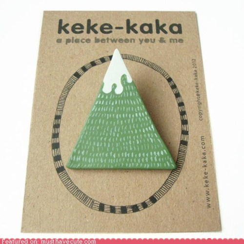 brooch,green,handmade,mountain,pin,snow