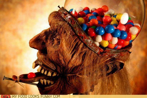 gross,gum,gumball machine,head,taxidermy,zombie